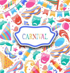 festive postcard with carnival colorful icons and vector image