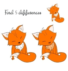 Find differences kids layout for game fox vector