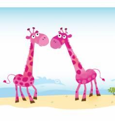 giraffes in love vector image vector image