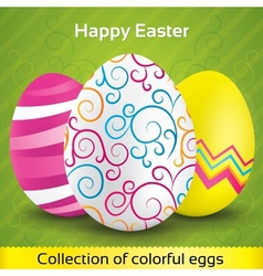Greeting card with colorful textured eggs vector image