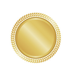 Modern gold circle metal badge label and design vector