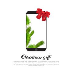 modern smart phone with red ribbon bow on vector image vector image