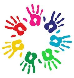 Multicolor diversity hands circle vector image vector image