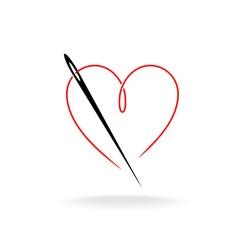 Needle thread logo vector