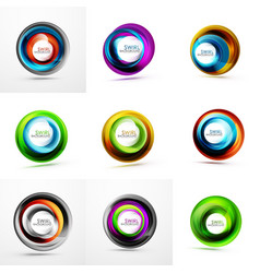 set of swirl geometric icons vector image