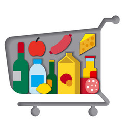 shopping cart with food vector image vector image