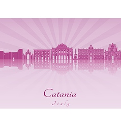 Catania skyline in purple radiant orchid vector image