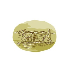 Farmer and Horses Plowing Field Oval Etching vector image vector image