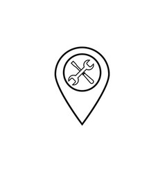 Map pointer with service line icon navigation vector