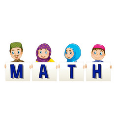 muslim family holding sign for word math vector image vector image