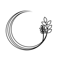 silhouette medium circular border with branch and vector image vector image