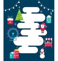 Winter holidays town poster santa food stalls vector
