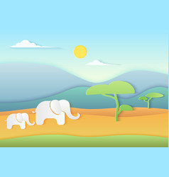 African savannah landscape with elephants vector