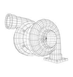 Automobile turbocharger concept outline vector