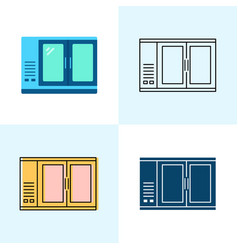 bar refrigerator icon set in flat and line styles vector image