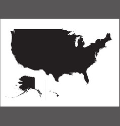 black silhouette map united states america vector image