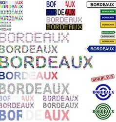 Bordeaux text design set vector image