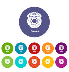 brakes icons set color vector image
