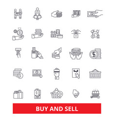 Buy and sell business shop commerce shopping vector