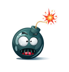Cartoon bomb fuse wick spark icon horror vector