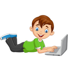 cartoon boy operating laptop laying on floor vector image