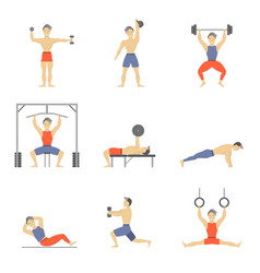 cartoon characters muscular man icon set vector image