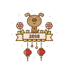chinese new year card 2018 vector image