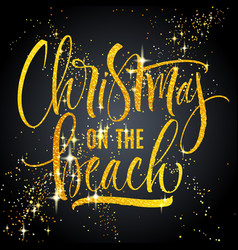 christmas on beach lettering vector image