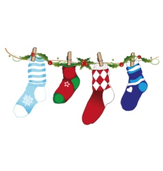 Christmas socks holly vector image