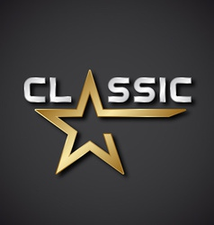 classic golden star inscription icon vector image