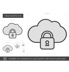 Cloud security line icon vector image