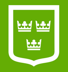 coat of arms of sweden icon green vector image