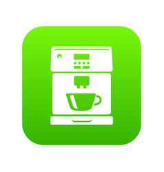 coffee machine icon green vector image