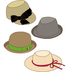 Collage of Fashion lady hat vector image