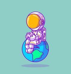 Cute astronaut sitting on earth icon vector