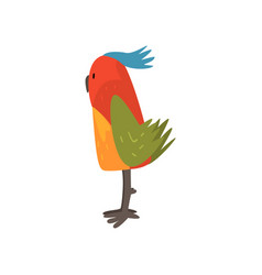 Cute bird cartoon character with bright colorful vector