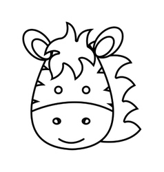 Cute little zebra animal character vector
