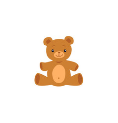 cute teddy bear toy image or icon flat cartoon vector image