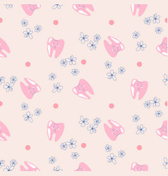 cute teeth baby dental pink pattern background vector image