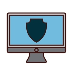 Desk computer icon image vector
