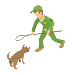 Dog catcher control icon isometric 3d style vector
