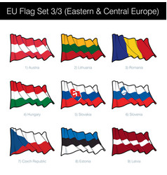 european union waving flag set - eastern and vector image