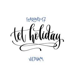 February - tet holiday - vietnam hand vector