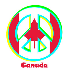 Flag of canada as a sign of pacifism vector