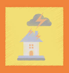Flat shading style icon lightning house vector
