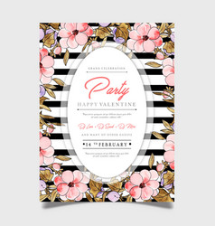 Floral valentine party poster vector