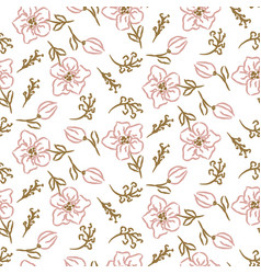 flowers seamless pattern hand drawn style tender vector image