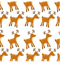 forest deer animal wildlife seamless pattern image vector image