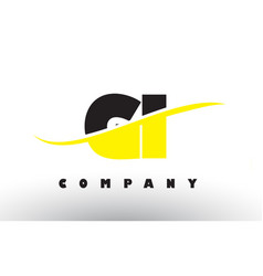 Gi g i black and yellow letter logo with swoosh vector