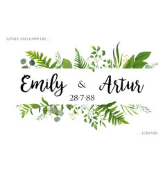 greenery wedding floral invite invitation card vector image